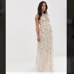 ASOS Maternity embroidered floral mesh maxi dress